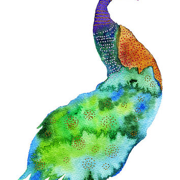 Colorful Peacock, Archival Print, Watercolor Painting, Wall Decor Art