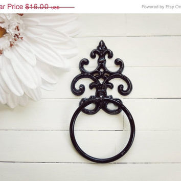 SPRING SALE Black Towel Holder / Towel Ring / Towel Rack / Outdoor Kitchen / Towel Hanger / Bar Towel Holder / Hand Towel Holder / Black Hom