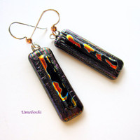 Autumn Muse Handmade Dichroic Fused Glass Jewelry Dangle Earrings in Brown, Black and Orange Pattern by Umeboshi Jewelry Designs