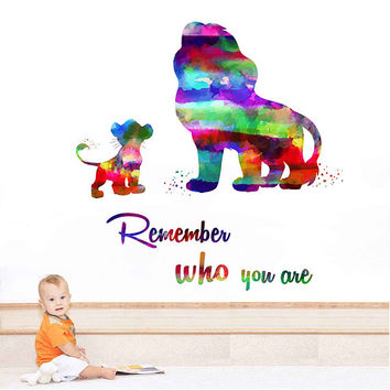 kcik2043 Full Color Wall decal Watercolor Character Disney Sticker Disney children's room The Lion King quote