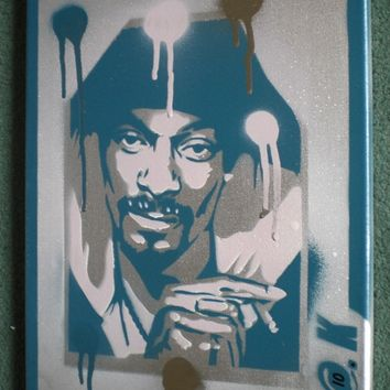 Snoop Dogg painting,silver,stencil art,spray paints,canvas,icon,music,hip hop,rap,Westcoast,urban,Long Beach,g funk,home,wall art,americana