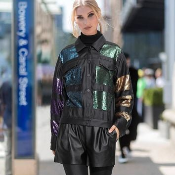 Women Fashion Multicolor Sequin Buttons Cardigan  Long Sleeve Loose Show Thin PU Leather Clothes Jacket Coat