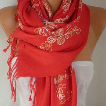 Red Embroidered Scarf,Fall Winter Shawl, Oversized, Bridesmaid, Bridal Accessories, Gift Ideas For Her, Women Fashion Accesssories