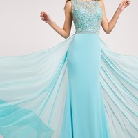 Blue Jersey Embellished Gown 21029 - Prom Dresses
