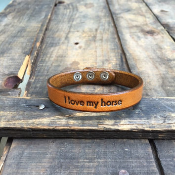 I Love My Horse Punched Leather Bracelet