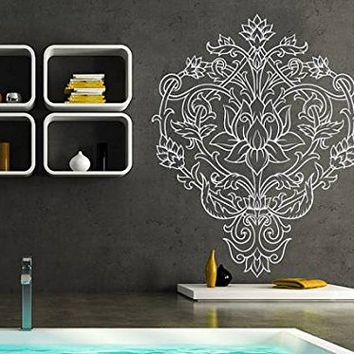 Lotus Flower Wall Decal Indian Ornament Yoga Namaste Vinyl Sticker Decals Mehndi Bohemian Boho Bathroom Home Decor Bedroom Dorm NV101