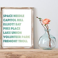 Watercolor Seattle hot spots typography Home Print