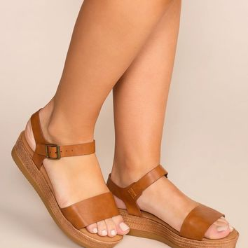 Take A Breather Tan Platform Sandals