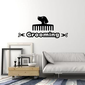 Vinyl Wall Decal Grooming Abstract Dog Head Comb Pet Animal Room Stickers Mural (g1845)