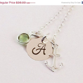 On Sale Sterling Silver Anchor Initial Necklace with Sterling Silver Anchor Charm and Swarovski Elements Crystal Birthstone