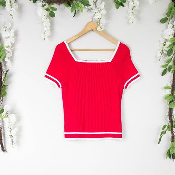 Vintage Red Sweater Blouse