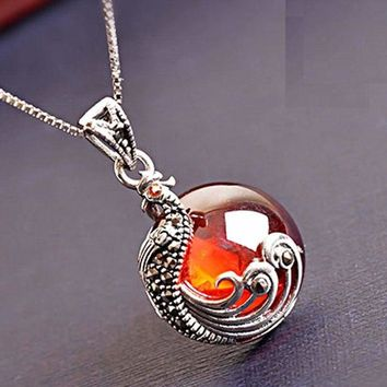 Women 925 Sterling Silver Garnet Red Stone Peacock Jewelry Necklace Gift Box