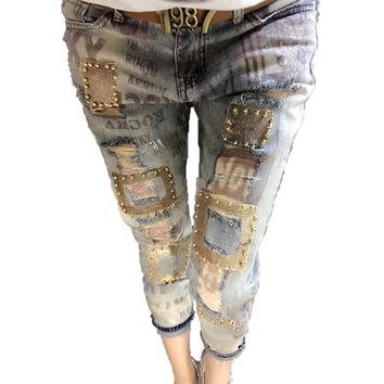 Sequined Beading Vintage Printing Pants Female Casual Slim Trousers Women Jeans Fashion Print Skinny Denim Jeans