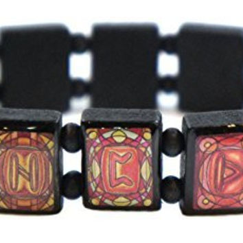 Rune Symbols Warm Tones Manifestation Prayer Black Wood Stretch Bracelet