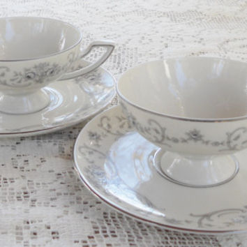 Elegant Fine China Haviland Footed Tea Cups and Saucers, Tea Party for Two, Hollywood Regency, Waldorf, Vintage, Wedding