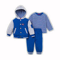 Little Me Boys 3 Piece Blue/Grey Quilted Snap Front Jacket with Hood, Striped Long Sleeve Top and Drawstring Pant Set