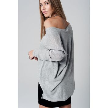 Silver knit sweater with lurex