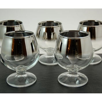 Five Mid Century Silver Ombre Mercury Glass Brandy Snifters, Dorothy Thorpe Style, Vintage Barware