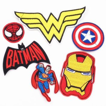Batman Dark Knight gift Christmas New arrival 6Pcs Heros Batman Spider man Avengers Patches For Clothing Iron On Embroidered Appliques DIY Apparel Sewing Badge AT_71_6