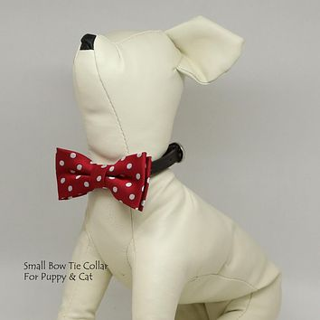 Micheys Red Big Polka dots  bow, Small bow tie collar, Puppy Collar, Cat collar, Cat bow tie collar