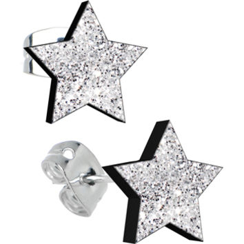 Diamond Dust Glitter Star Stud Earrings | Body Candy Body Jewelry
