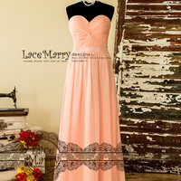 Long Bridesmaid Dress in Blush Pink Chiffon with Strapless Sweetheart Neckline featuring Wrapped Bodice, Waistline Sash and Lace-Up Closure