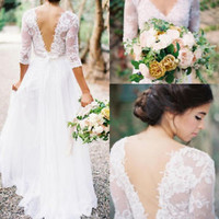 Lace Half Sleeves Ivory Wedding Dresses with V Back Boho Bridal Dresses