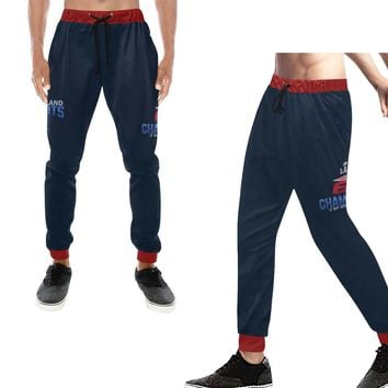 New England Patriots 6x Champs Men's Casual Sweatpants Navy Blue Red Bell Jogger Pants