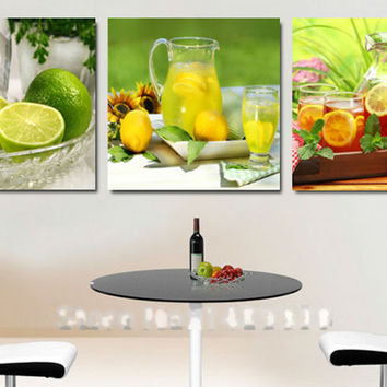 3 Panels Canvas Print For Kitchen Fruits Painting for Living Room Wall Art