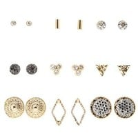 Multi Modern Minimalism Stud Earrings - 9 Pack by Charlotte Russe