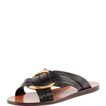 Chloe Leather Ring Crisscross Slide Sandal