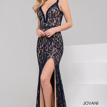 Navy and Nude Plunging Neckline Lace Evening Dress 36460