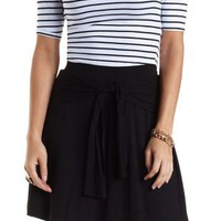 Tie-Front Knotted Skater Skirt by Charlotte Russe