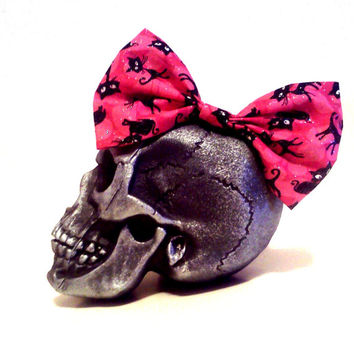 Hot Pink Hair Bow, Black Cat, Glitter Hair Bow, Kawaii Hair Bow, Big Hair Bow, Pink Hair, Rockabilly Hair Bow, Pin Up, Pastel Goth, Cosplay