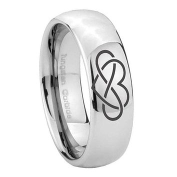8mm Infinity Love Mirror Dome Tungsten Carbide Mens Promise Ring