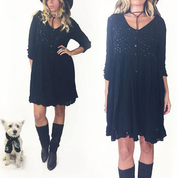Vintage Midnight Black STEVIE NICKS Baby Doll Dress || 80's Black Witchy Goth Sheer Baby Doll Dress  || Size S Size M