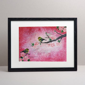 Beautiful Bird and pink Blossom Painting,Wall art,pink Wall Decor,Cherry Blossom Wall Art,Blossom painting,Living room Painting.