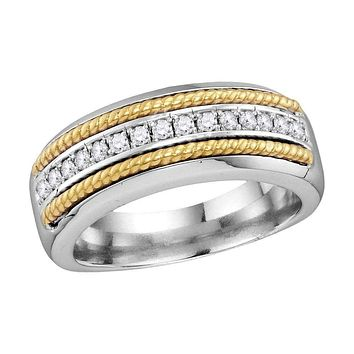 10kt White Gold Men's Round Pave-set Diamond Yellow-tone Rope Wedding Band 3/8 Cttw - FREE Shipping (US/CAN)