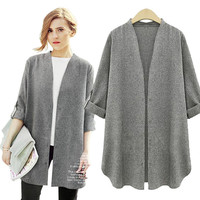 Fashion European High Street Winter Women Coat Female New Loose Slim Long Trench Coat Cardigan