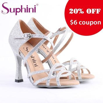 Free Shipping Suphini Competition Heel Salsa Latin Shoes Woman dance shoes Glitter Silver Latin Dance Shoes