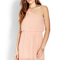 FOREVER 21 Sleek One-Shoulder Dress Blush Small