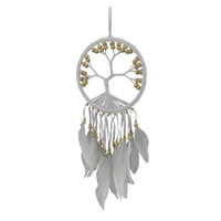 White Tree of Life Beaded and Feathered Hanging Dreamcatcher | Overstock.com Shopping - The Best Deals on Ornaments