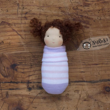 Waldorf pocket doll with socks body - toy for toddlers - baby doll - newborn doll - girl doll