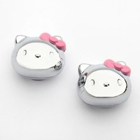 Hello Kitty License Plate Screw Covers: Silvertone