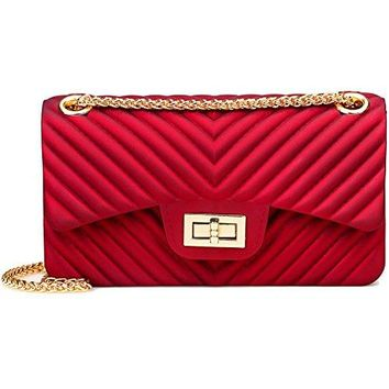 Women Fashion Shoulder Bag Jelly Clutch Handbag Quilted Crossbody Bag with Chain  YSL bag