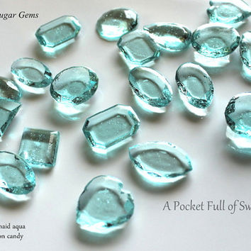 125 AQUA BLUE Edible Sugar Gems Jewels Turquoise Teal Barley Sugar Bite Sized Hard Candy 6.5 oz Cake Decor Cupcake Jewels