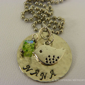 Nana necklace silver hand stamped distressed with bird charm and green swarvoski bead