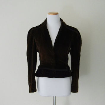 FREE usa SHIPPING Vintage Women's velvet jacket in chocolate brown