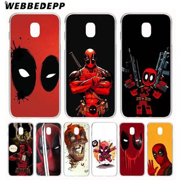WEBBEDEPP Marvel Deadpool Comic Spiderman Phone Case for Galaxy J1 J2 J3 J5 J7(2015/2016/2017/Prime) EU US Version Cover