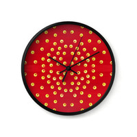 Wall Clock, red clock, polka dot decor, geometric decor, yellow dots, decorative clock, wall art, minimalist, red home decor or office decor